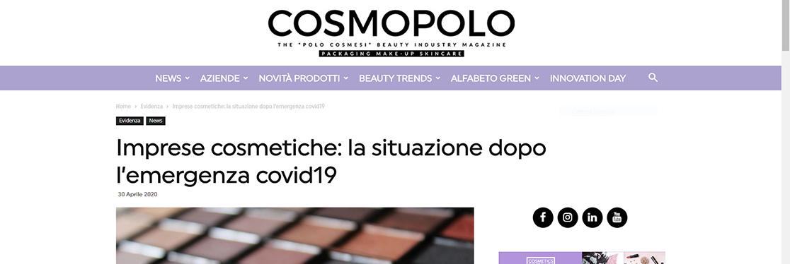 """Cosmopolo – """"Imprese cosmetiche: la situazione dopo l'emergenza covid19"""""""